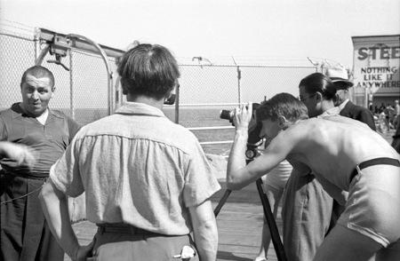 Curly Howard   Moe Howard and George Mann on the Steel Pier - 1938    Moe Howard Last Photo